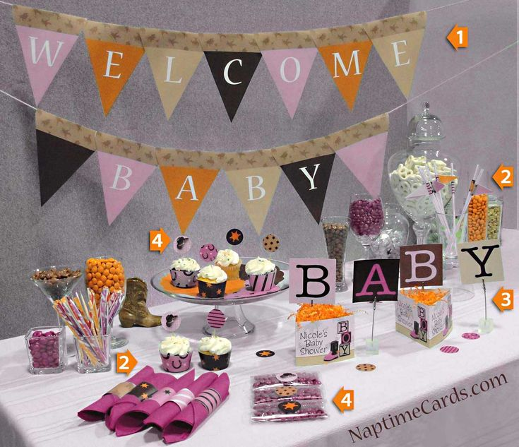 Cowgirl Baby Shower Decorations Includes A Printable Pennant Banner,  Printable Cupcake Wrappers, Straw Flags
