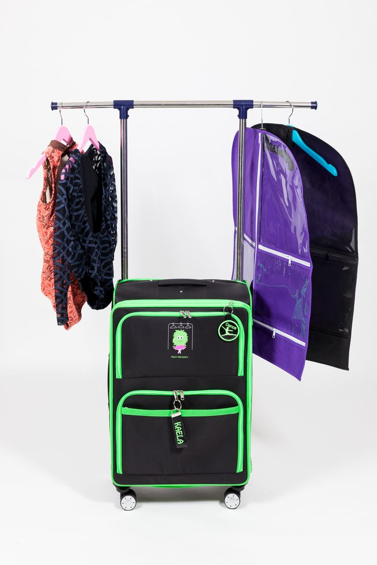 Arriving soon!  Rack Monsters rolling dance bag with adjustable rack.  Unique in its design, both inside and out. Maximum storage capacity with a small footprint.  Visit the website for details and pre-order savings! www.allaboutattitudedancewear.com