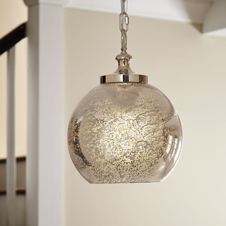 Birch Lane Nadia Pendant - No matter where you hang this charming one-light style, its textured mercury glass, polished nickel detailing, and timeless globe design will make an unforgettable addition.