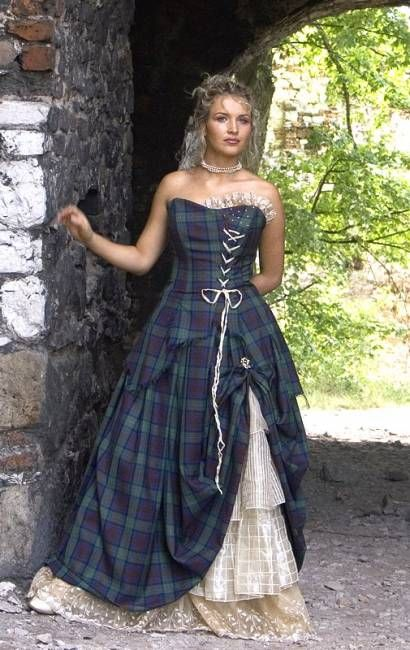 The hotel we were staying at in Scotland had a wedding reception one night, and the bridesmaids were wearing dresses like this. The guys were wearing matching kilts of course. The bride had a beyond amazing dress cut similarly, in whites, and all sorts of different fabrics. So amazing!