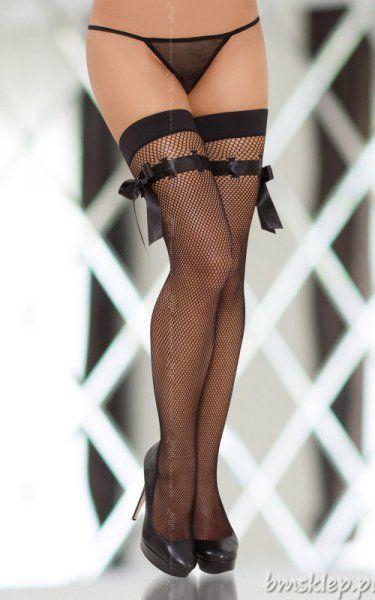 Pończochy samonośne, bez silikonu. Wykonane z miękkiej, elastycznej siateczki #kabaretki o drobnych oczkach. Wykończone elastyczną taśmą. Dodatkową ozdobę stanowi satynowa wstążka. Pończochy idealnie dopasowują się do kształtu kobiecego ciała.... #Ponczochy - http://bmsklep.pl/ponczochy-9301-9301-ponczochy