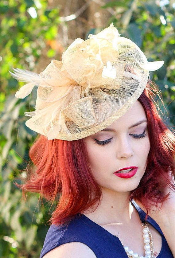 Champagne Gold Fascinator Womens Tea Party Hat by QueenSugarBee