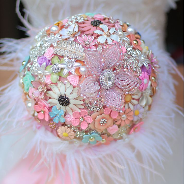 Find More Wedding Bouquets Information about 8 inch custom bridal bouquet,DIY brooch bouquet, pink handmade wedding bouquet, ostrich feather embellishment small flowers,High Quality feather flower brooch,China feather patch Suppliers, Cheap feather bouquet from Brooch bouquets custom store on Aliexpress.com