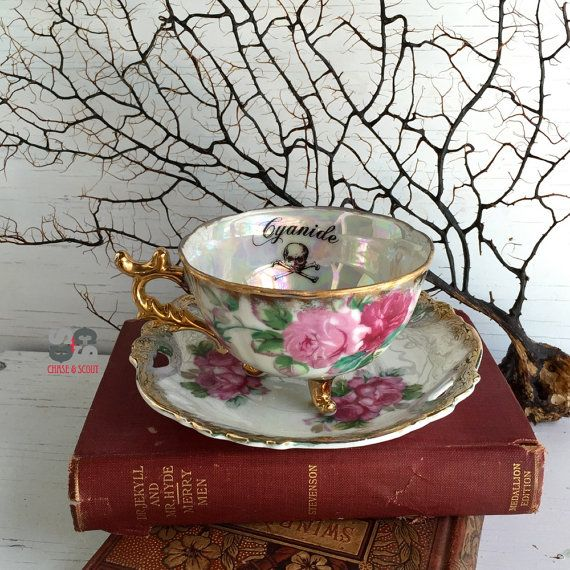 Cyanide Poison Teacup Pink and Gold tea cup by ChaseAndScoutDesign