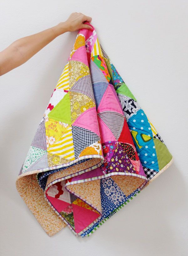 Triangle rainbow quilt with binding tutorial