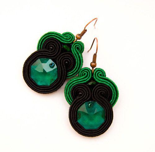Emerald green pantone earrings bold and by MANUfakturamaanuela, $33.00