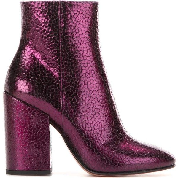 Dries Van Noten ($650) ❤ liked on Polyvore featuring shoes, boots, sapatos, purple boots, ankle boots, leather boots, short boots and short leather boots