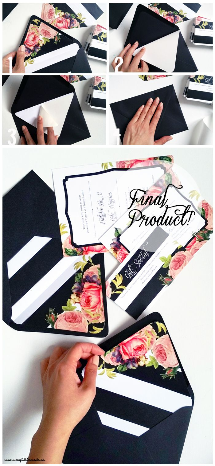 DIY Wedding Invitation Envelope Liners Tutorial from My Little Secrets -- Love