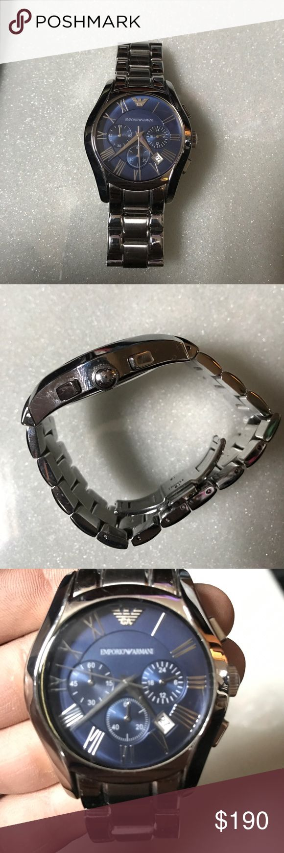Armani men's Watch Men's Armani watch silver and a blue face. Dark blue. Perfect working condition Emporio Armani Accessories Watches