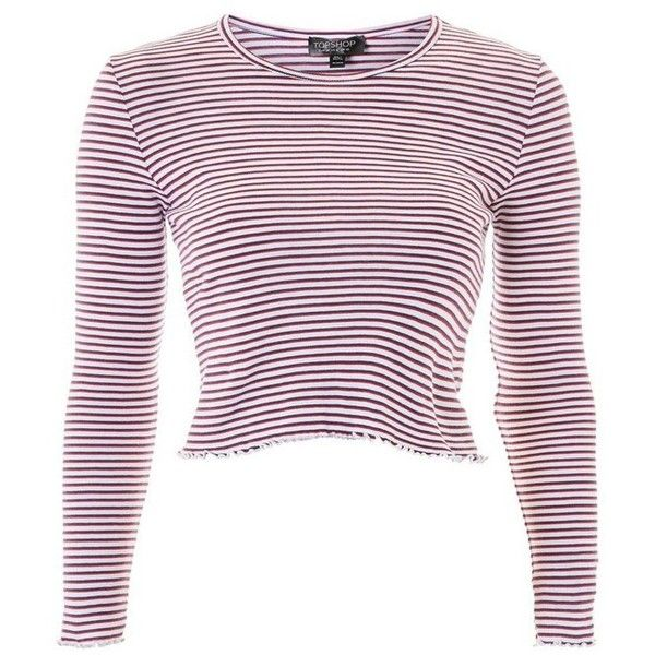 Petite Women's Topshop Lettuce Edge Stripe Tee ($26) ❤ liked on Polyvore featuring tops, t-shirts, petite white tops, white crew t shirt, white crew neck t shirt, fitted t shirts and white striped t shirt