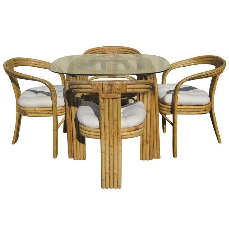 A Dining Set In Bamboo, Rattan, And Glass In The Style Of Austrian American  Designer Paul Frankl. The Table In This Dining Set Is Comprised Of A Be.