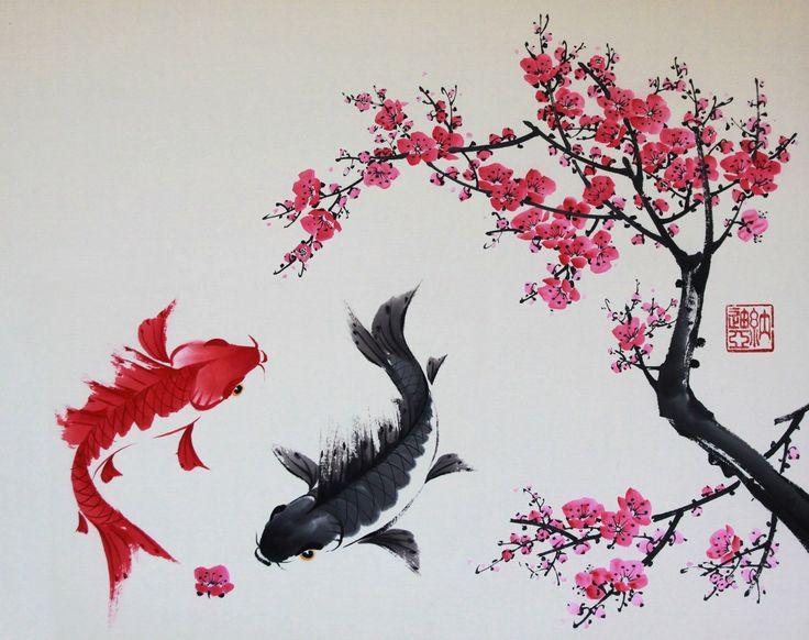 территории рисунок в японском стиле сакура земле