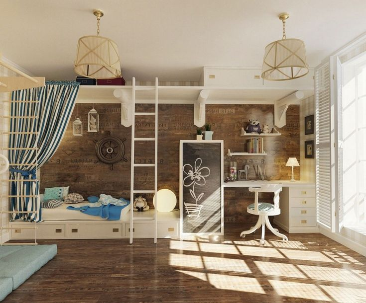 Kids room nautical feel girls bedroom with weathered wood wallcovering and built in galley like
