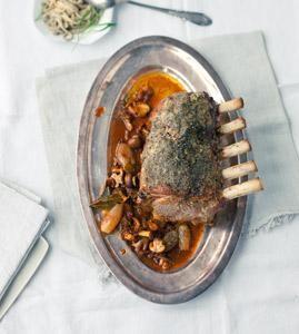 Rezept: Kalbskarree mit Pilzen und Estragonspätzle