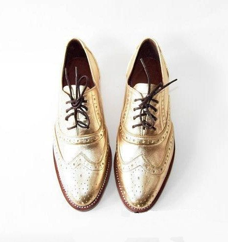 Free shipping - Handmade Golden metallic leather oxford shoes -Custom shoes by Unique Flavors #etsy #gold