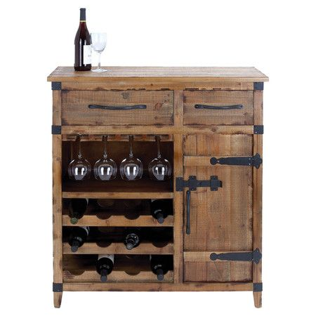 Great weathered wood wine cabinet with two drawers and a side door. Includes one glass rack and three bottom racks - holds twelve bottles.