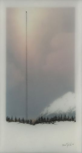 Brooks Salzwedel-- drawings are hand drawn graphite on Duralar cast in layers of resin. Color in the pieces are made by layers of transparent tape.