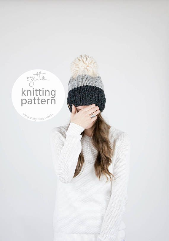 Knitting Pattern - Ombré Knit Hat With Pom Pom - The Breck Hat ...