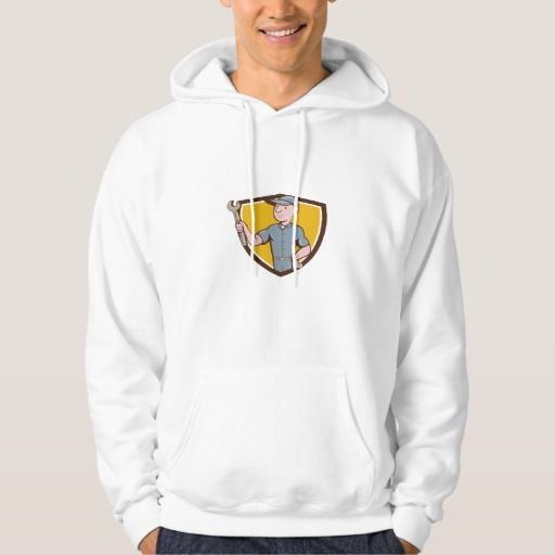 Handyman Holding Spanner Crest Cartoon Hoodie. Illustration of a repairman handyman worker wearing hat holding spanner wrench looking to the side set inside shield crest done in cartoon style. #Illustration #HandymanHoldingSpanner