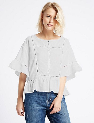 Pure Cotton Ladder Trim Flared Shell Top | M&S