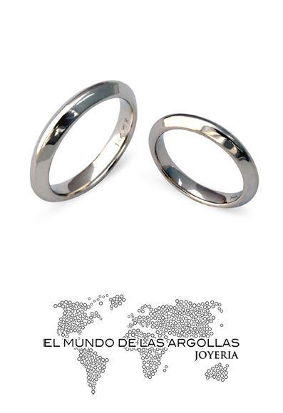 Modelo: H-BANGOSTINA4M - Argolla oro blanco 14k 4.5mm pulido #ArgollasDeMatrimonio