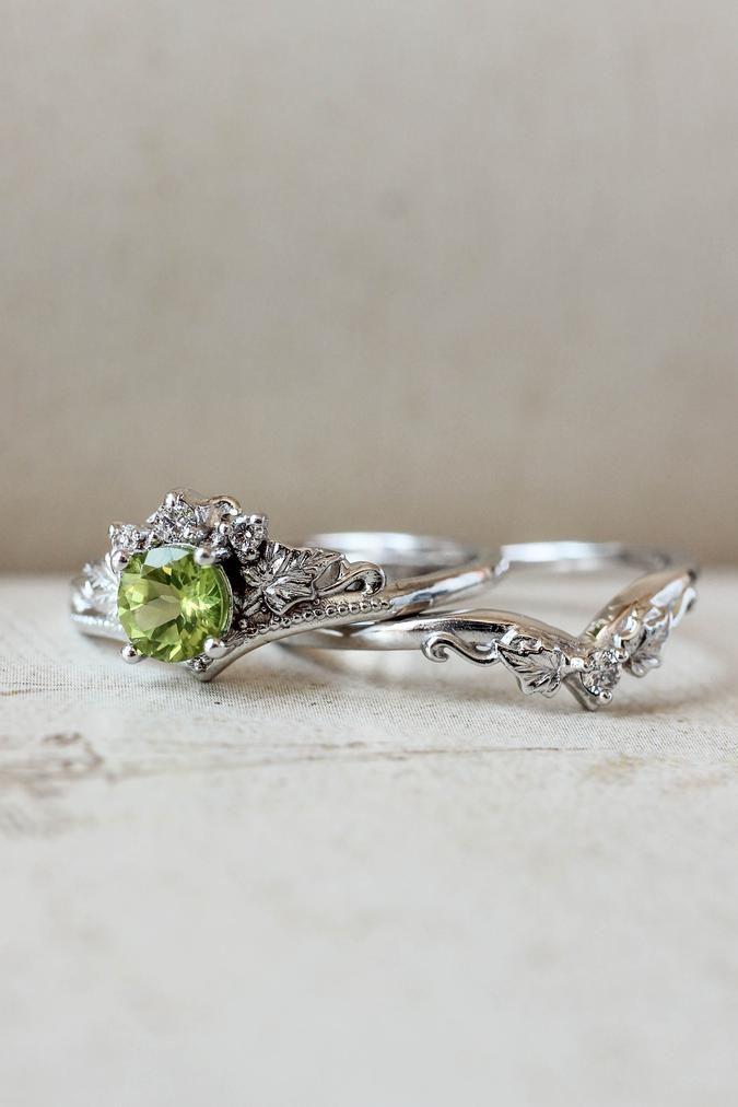 Bridal Ring Set With Peridot And Diamonds White Gold Wedding Band In 2020 Wedding Ring Sets Wedding Rings Bridal Ring Set