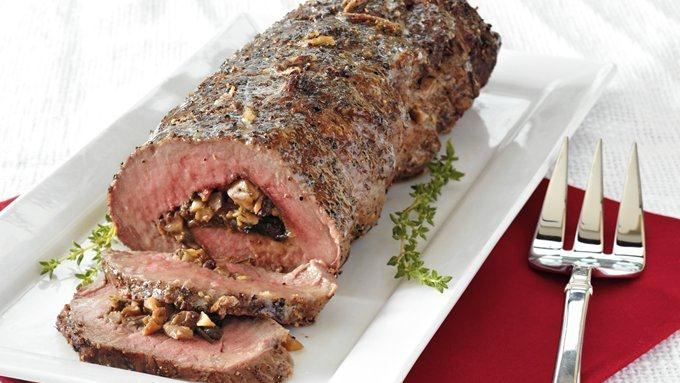 Enjoy these hearty beef tenderloin filled with mushroom and herb mixture – perfect for a dinner.