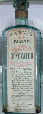 bottle - Jarvis' Blood Renovator given to pep ones libido for indisposure #victorianfacebook