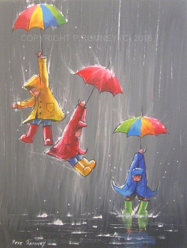 PETE RUMNEY FINE ART BUY ORIGINAL ACRYLIC OIL PAINTING UMBRELLA PARACHUTE KIDS in Art, Direct from the Artist, Paintings   eBay