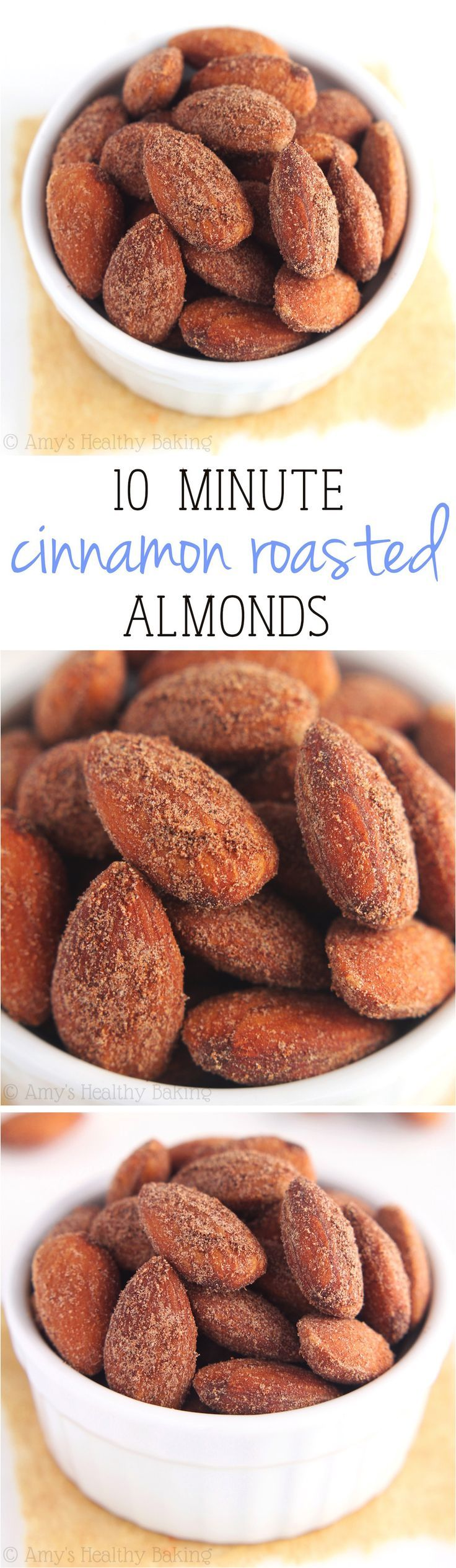 Cinnamon Roasted Almonds -- just 4 ingredients + 10 minutes to make this healthy, clean-eating snack! SO much better than store-bought!
