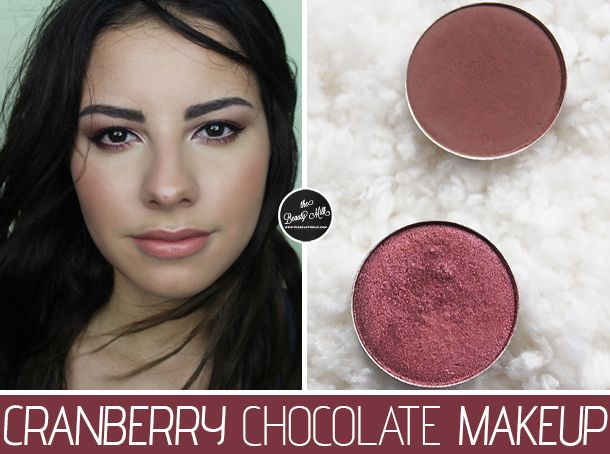Cranberry on middle to outer lid and lower lash line, chocolate color in the crease, light, shimmery shadow on the inner corner; light pink lips
