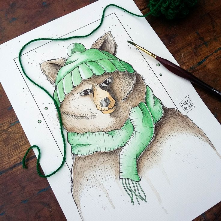 Watercolor Baby Bear. @anacbeier - Facebook/anacristibeierilustrações.com