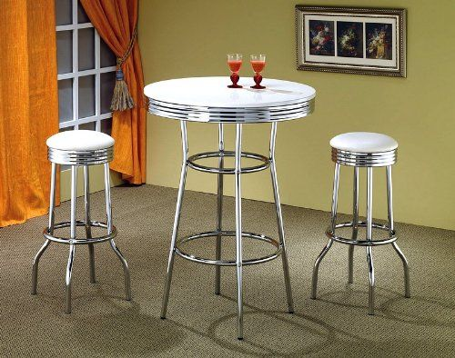 3pcs Retro Style White U0026 Chrome Bar Table U0026 2 Stools Set $219.00