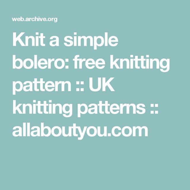 Knit a simple bolero: free knitting pattern :: UK knitting patterns :: allaboutyou.com