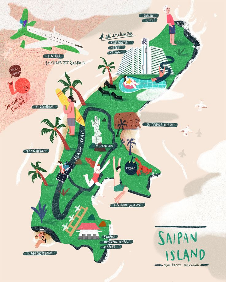 illustrated map of Saipan island for Marianas visitor authourity by Haio jang