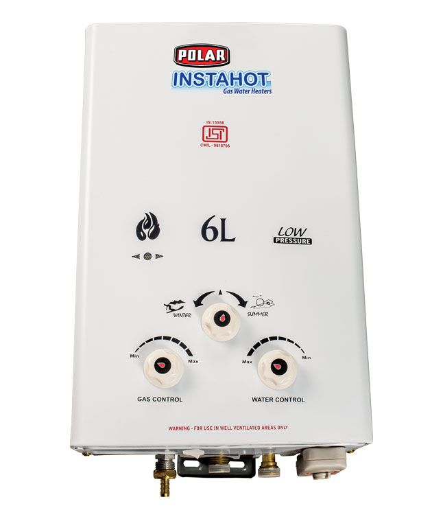 POLAR 6 LTR INSTAHOT METAL GAS WATER HEATERS WHITE A combination of features, style and utility, the POLAR  15L WHAH15M1 water heater is an excellent choice.   #Buy_Geyser_in_India     #Online_geyser