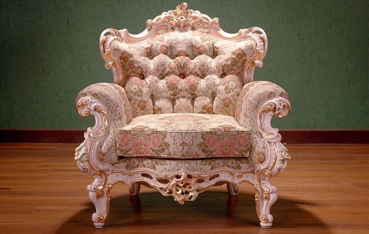 Floral pattern rococo chair
