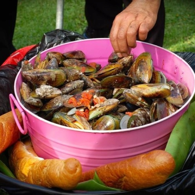 Marinated mussels delivered in a wheelbarrow for my guests...in between times