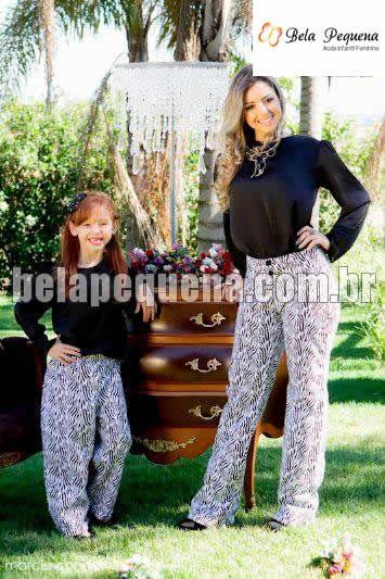 6229f02dab5ed0 Conjunto com calça e blusa preta tal mãe tal filha | mae e filha ...