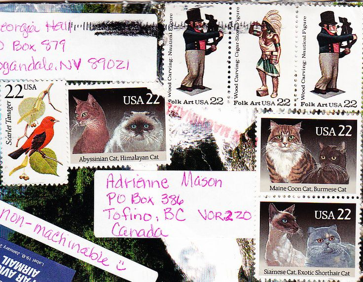 Great collection of cat and folk art stamps from Logandale, NV.