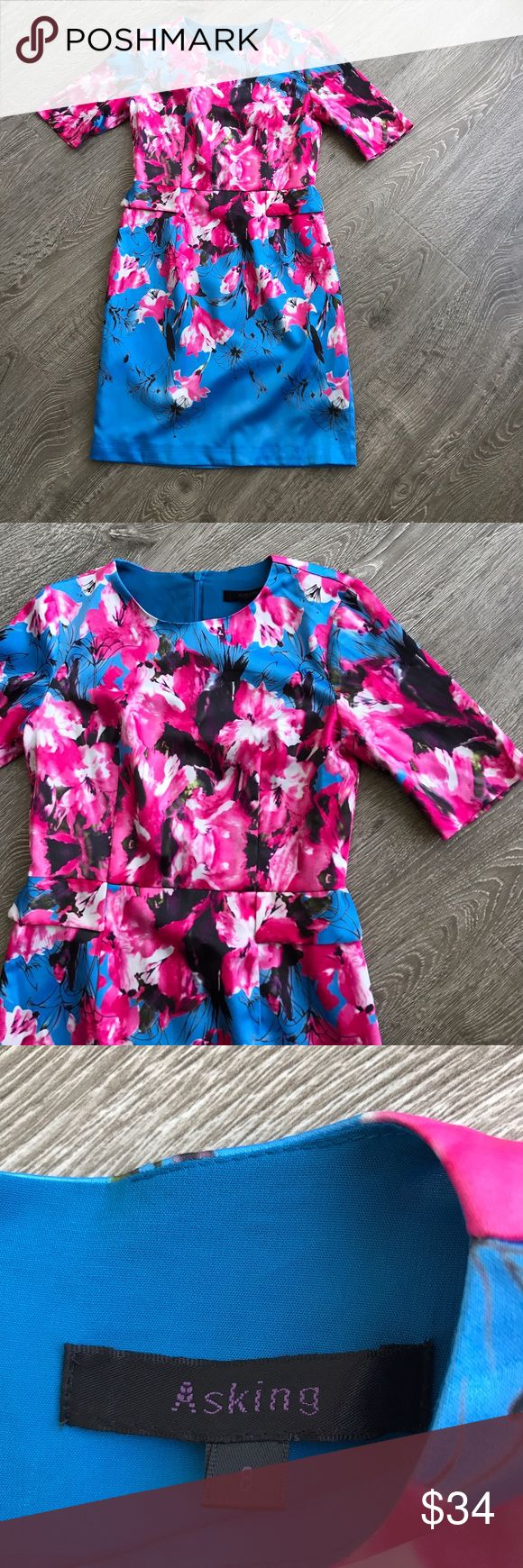 """Gorgeous Floral Print Fit Hot Pink w Blue Dress Asking Clothing Brand, stunning floral print dress size 8. Measures 17"""" armpit to armpit laid flat 36"""" top to bottom length. There is no stretch in fabric. Zipper in the back. As is - 2 tiny runs - one beneath the faux pocket, and the other on the bottom of skirt see photos - pattern is so lively it's hard to notice either. Hot Pink & Blue flowers, the colors in this dress are beautiful. Asking Dresses"""