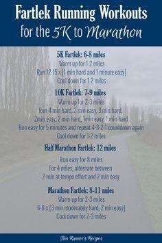 fartlek workouts for the 5k through marathon  running