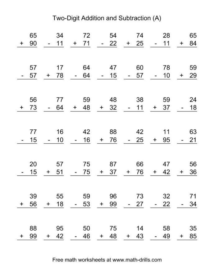 Math Worksheets Addition And Subtraction Two Digit Bined Addition And Subtraction Wo Subtraction Worksheets Addition And Subtraction Worksheets Math Worksheets