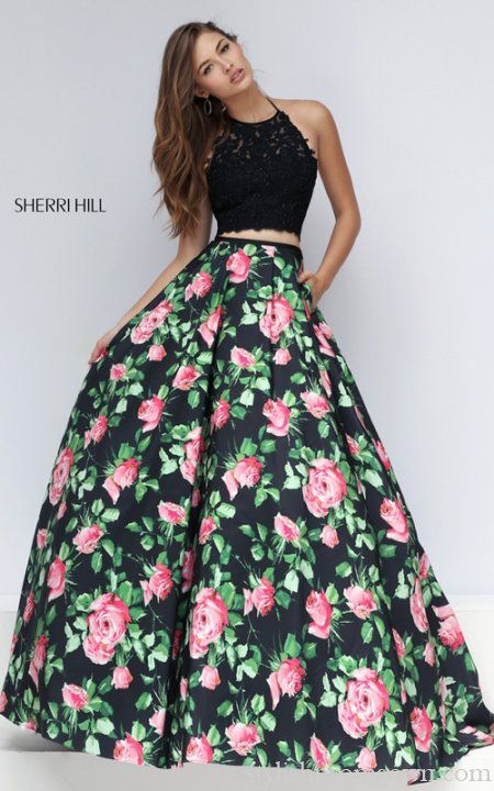 Sherri Hill 50337 Two Piece Floral Stylish Prom Dress Sexy