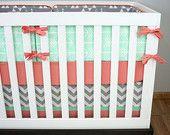 Mint Arrows Baby Bedding Crib Set, Mint Gray Coral Salmon Triangle Arrows Chevron Crib Bedding