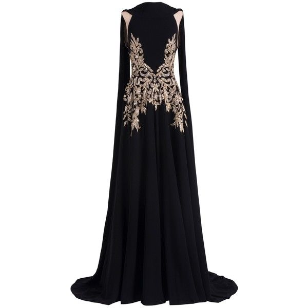 Georges Hobeika Beaded Cape Gown ($6,630) ❤ liked on Polyvore featuring dresses, gowns, cocktail dresses, floral cocktail dresses, floral evening gown, beaded evening gowns and glamorous evening dresses