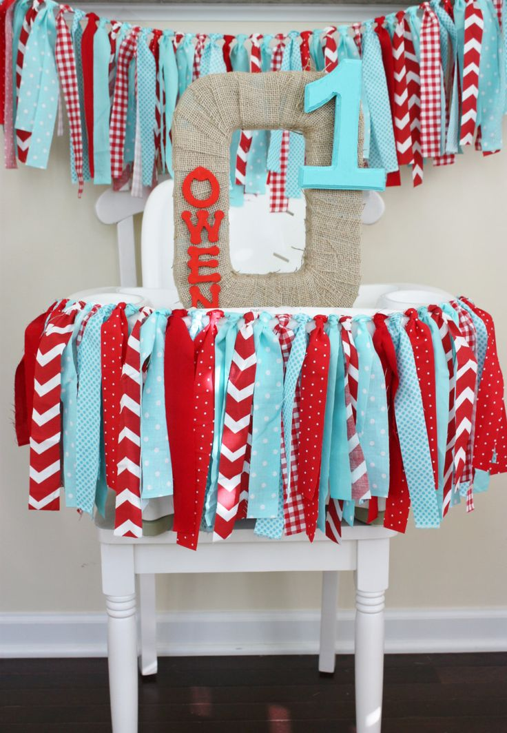 Rag Tie Highchair Banner 1st Birthday Decoration Dr Suess Party