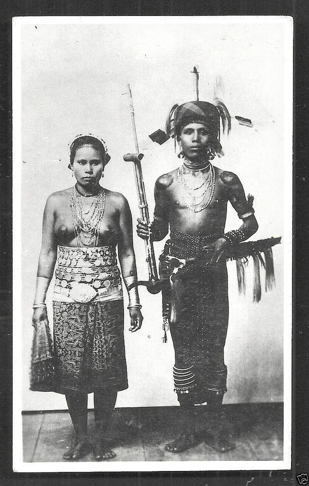 Dayak Woman Man Mouth Organ Music Borneo Malaysia 20s