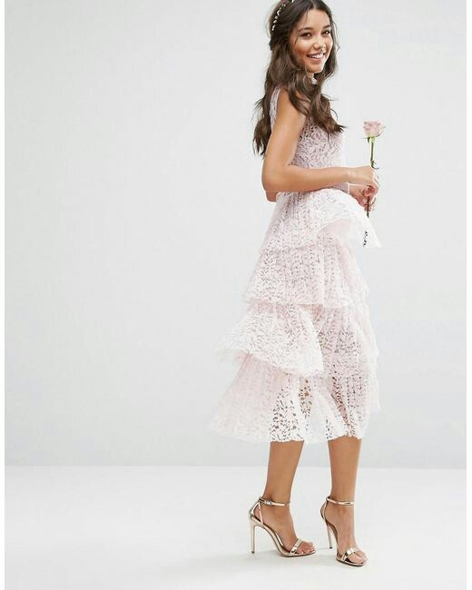 Body Frock Pleated Midi Dress With Tiers