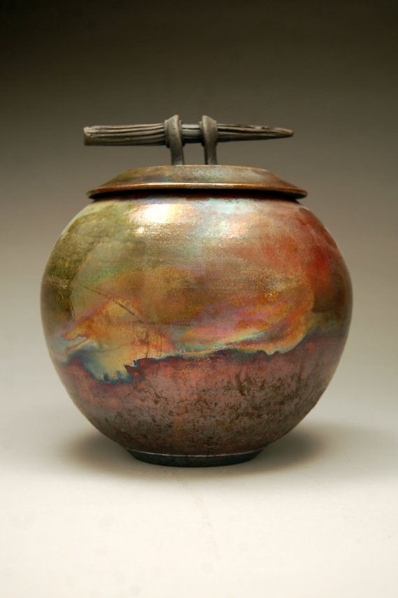 A beautiful piece of raku pottery - it brings in so many rustic colors.